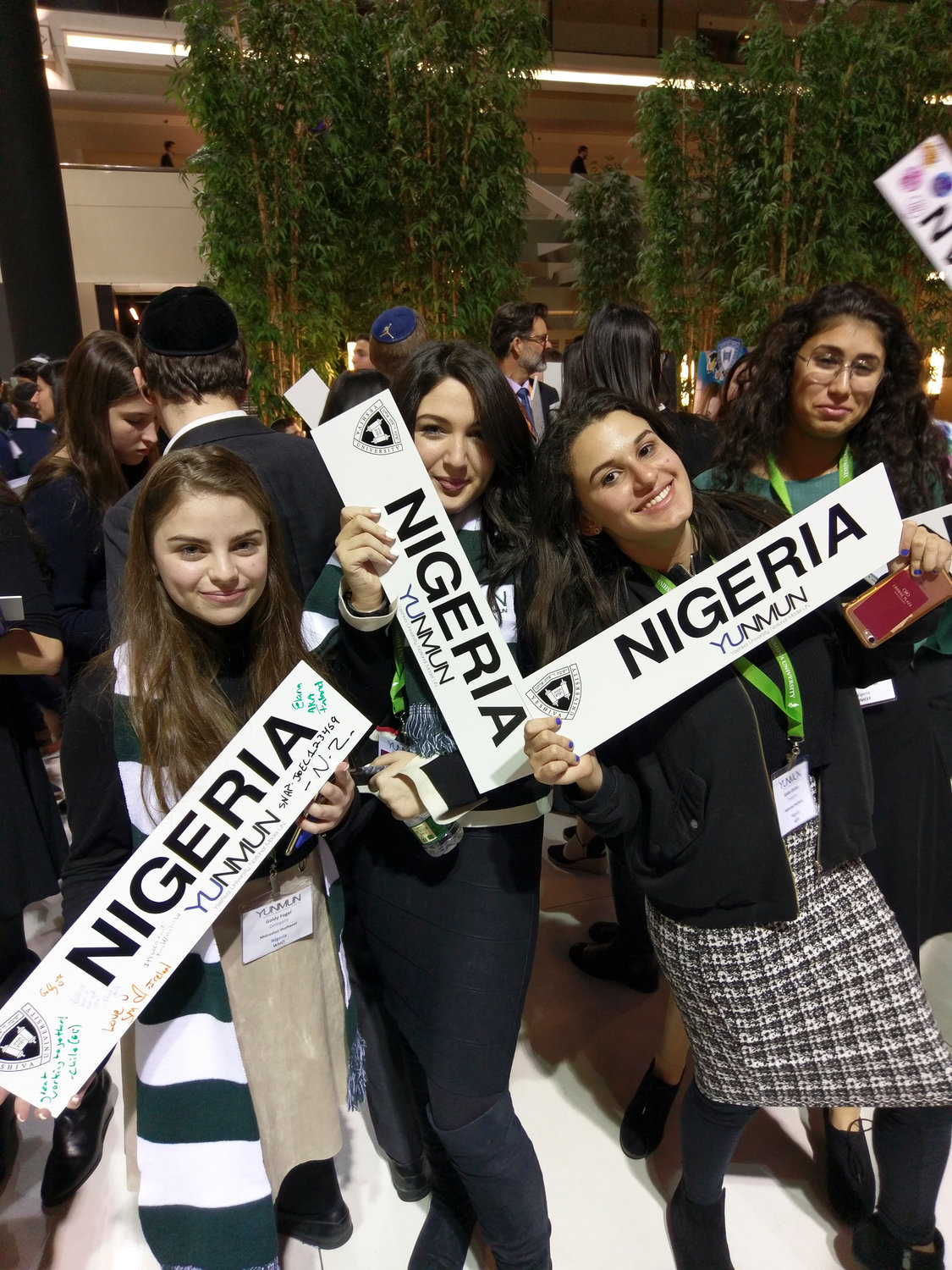 Midreshet Shalhevet High School students Goldy Fogel,  Dassi Klein, Golda Gordon and Lital Davidov took part in the Yeshiva University National Model United Nations.