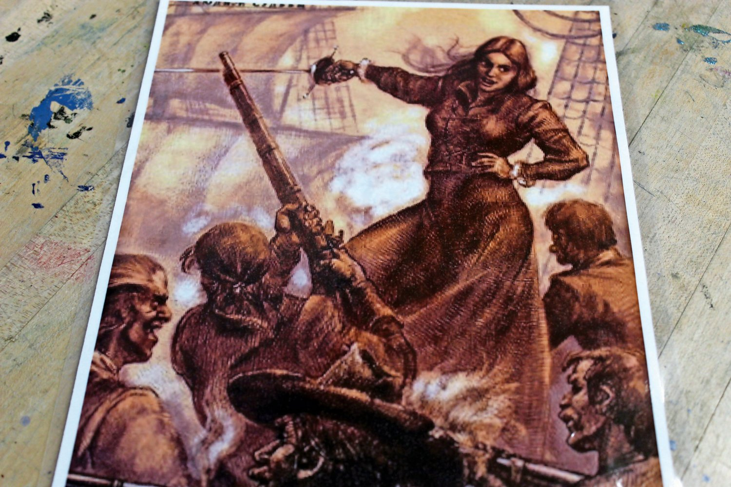 An artist's rendering of famous Irish pirate Grace O'Malley, pictured directing her crew with a flick of her sword.