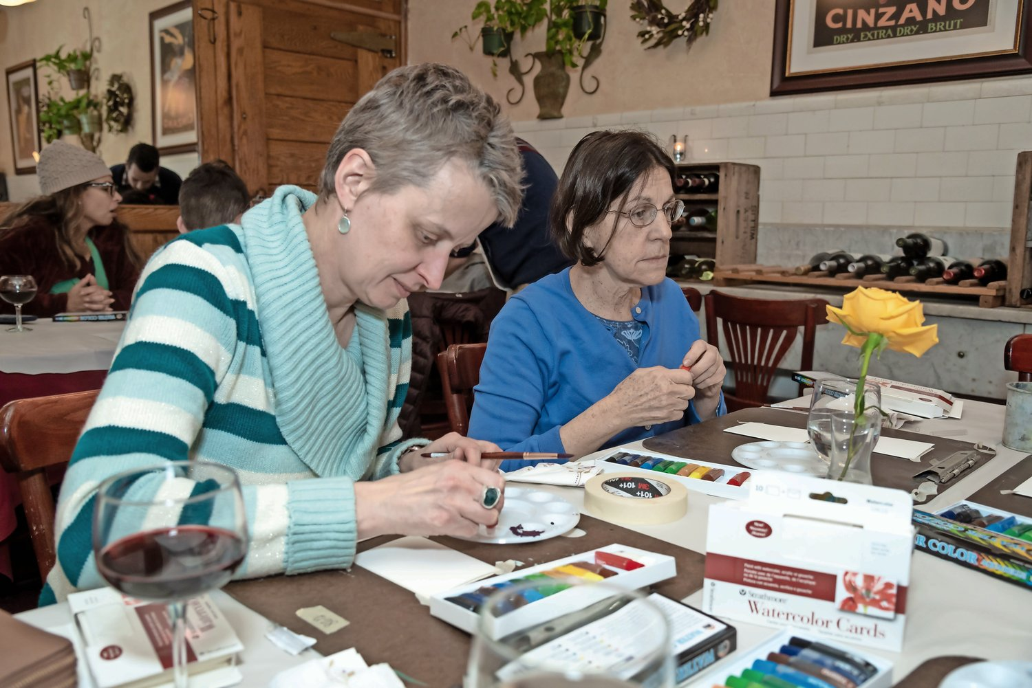 Anke Grosskopt, left, and Carole Kle thought about what they would paint.