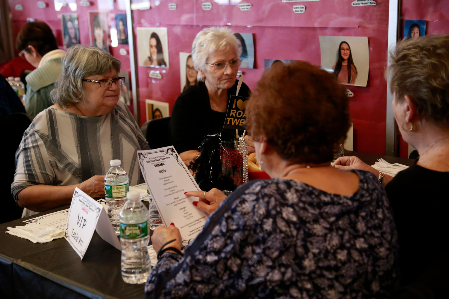 Carmen Rivera, Maureen O'Hea, Alice Boccia and Rosemary Velardo looked over a lunch menu at the Senior Citizens' Dinner Theater, sponsored by the W.T. Clarke Parent Teacher's Association in collaboration with the East Meadow Kiwanis and Clarke Theater Arts Parents Association.