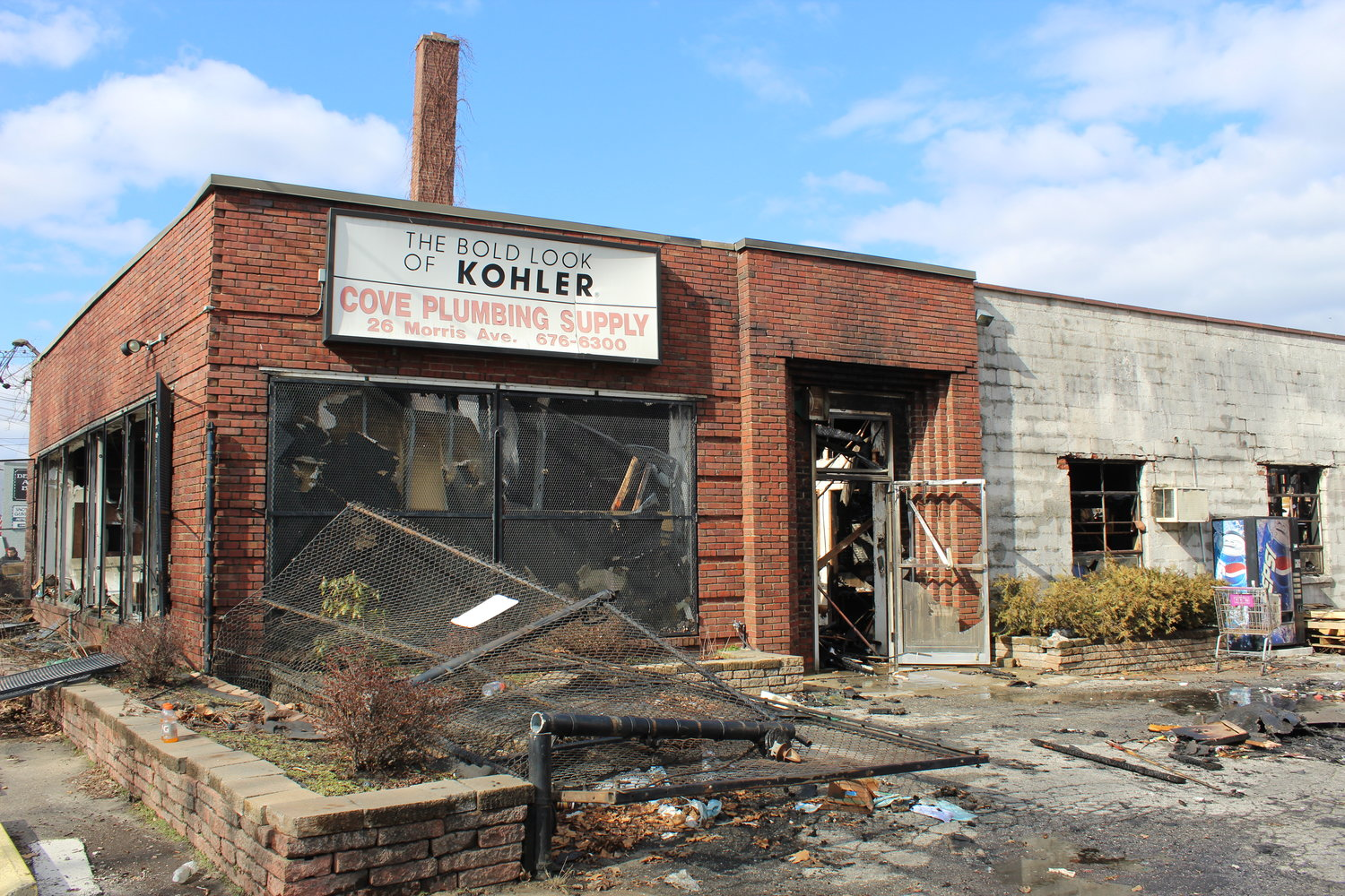 The East Meadow Fire Department joined with more than 30 other fire departments on the morning of March 12 to help fight a fire at Cove Plumbing Supply Co., in Glen Cove.