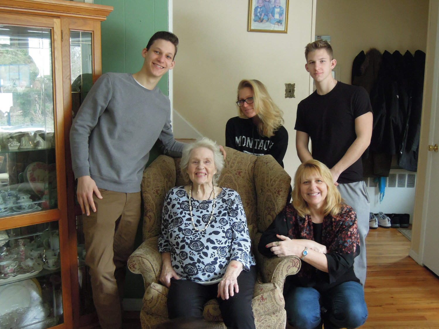 Dorothy Meinke, with, clockwise from left, her grandchildren Eric, Deanna and Chris Schneider and her daughter, Donna Schneider, celebrated her 99th birthday on March 2.
