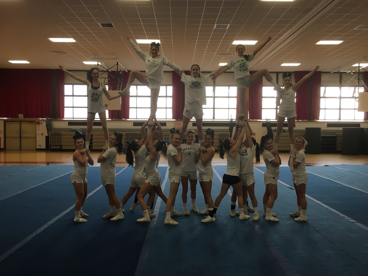 The General Douglas MacArthur High School varsity cheer team placed first in the Nassau County Division I small school competition on Feb. 24.