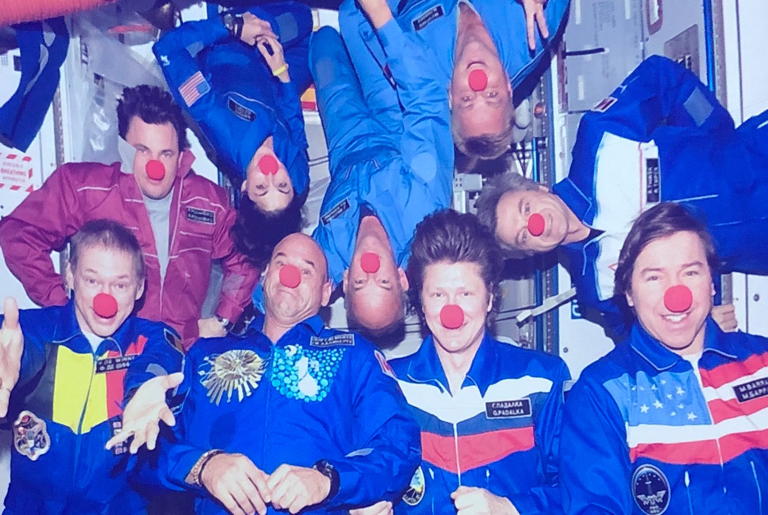 The crew aboard the International Space Station still enjoys leisure time. Stott, second from left at top, sported a clown nose along with her fellow astronauts. Members come from 15 different countries, she said, some of which are identifiable by the flags on their uniforms.