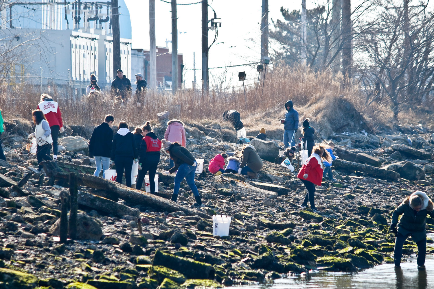 The group cleaned a half-mile strip of shoreline along Reynolds Channel.