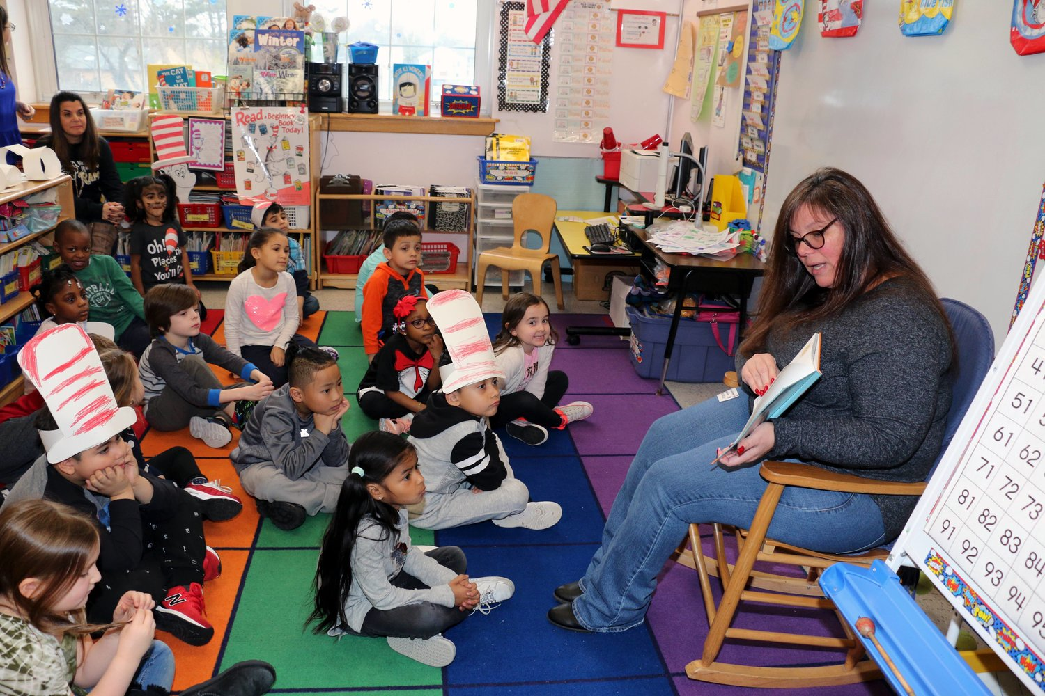 West Hempstead School District Board President Karen Brohm read to students at Chestnut Street School for Read Across America Day on March 1.