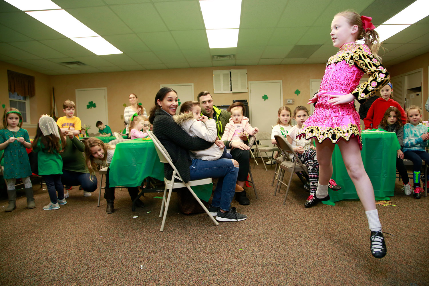 Nine-year-old Maeve Ledwith, a student from the Hagen-Kavanagh School of Irish Dance, performed a traditional step dance at the Malverne Youth Board's St. Patrick's Day Party at Village Hall on March 16.