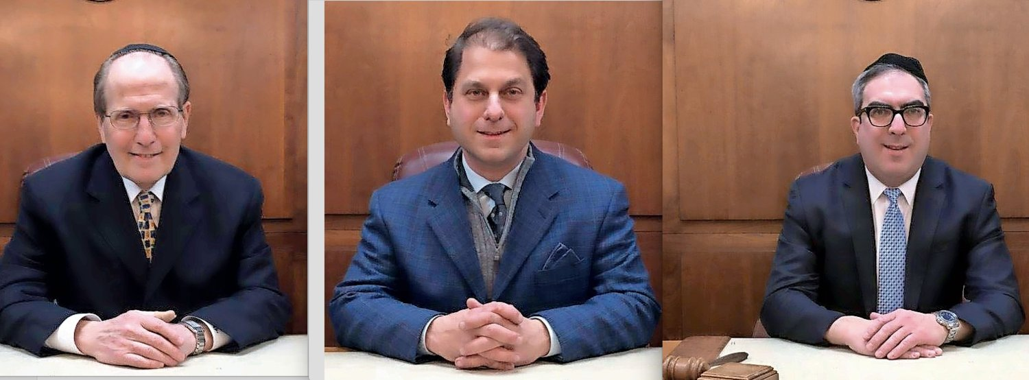 Cedarhurst village board members Mayor Benjamin Weinstock, left, and Trustees Ari Brown and Israel Wasser ran unopposed and all gained another four-year term.