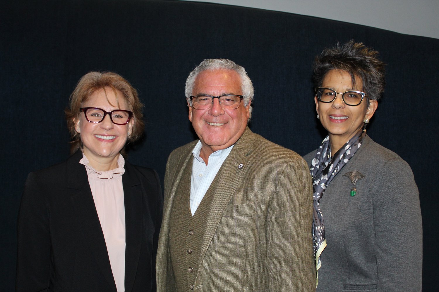 Trustee Dina Epstein, left, Mayor Edward Lieberman and Trustee Elena Villafane will again serve on the Sea Cliff Village Board of Trustees.