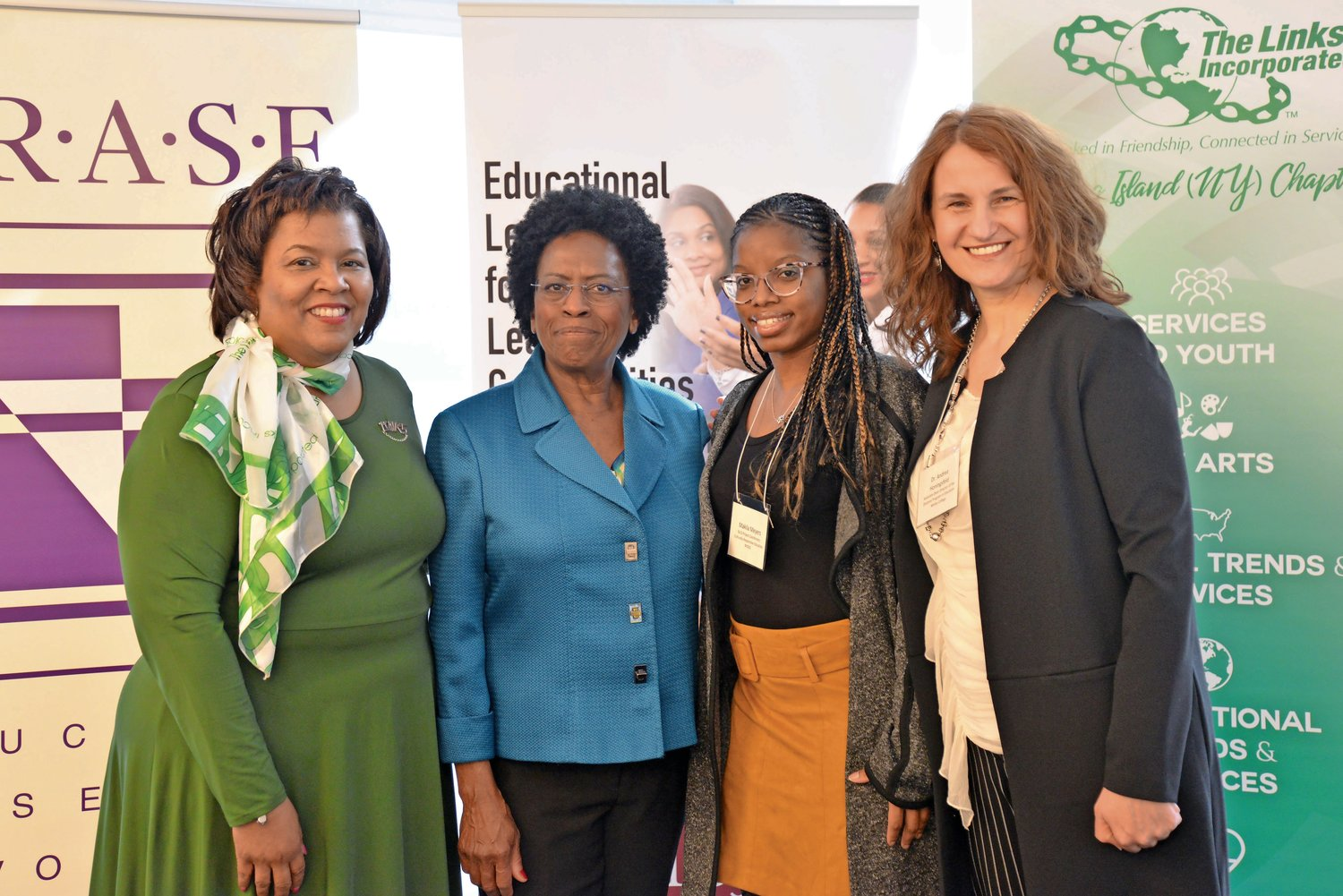 Leah E. Watson, president of The Links Incorporated Long Island Chapter, far left; Elaine Gross, president of ERASE Racism; Dr. Makila Meyers, of the New York State Education Department; and Andrea Honigsfeld, associate dean and director of Molloy College's Doctoral Program in Education, attended the event.