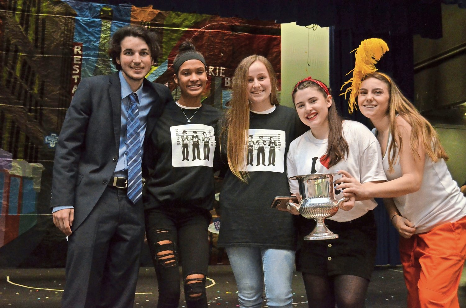 The senior class; represented by, from left, Nick Becker, Jamie Keegan, Laura Millan, Lauren Boll and Giavanna DeMelia; took home the coveted Rock Rivalry Silver Cup.