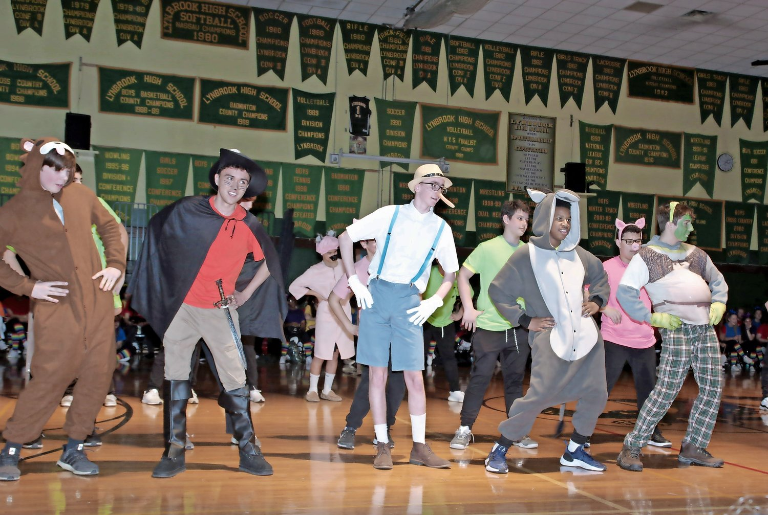 "Lynbrook freshman performed ""Shrek"" for their entry at Lynbrook High School's Class Night on March 15."