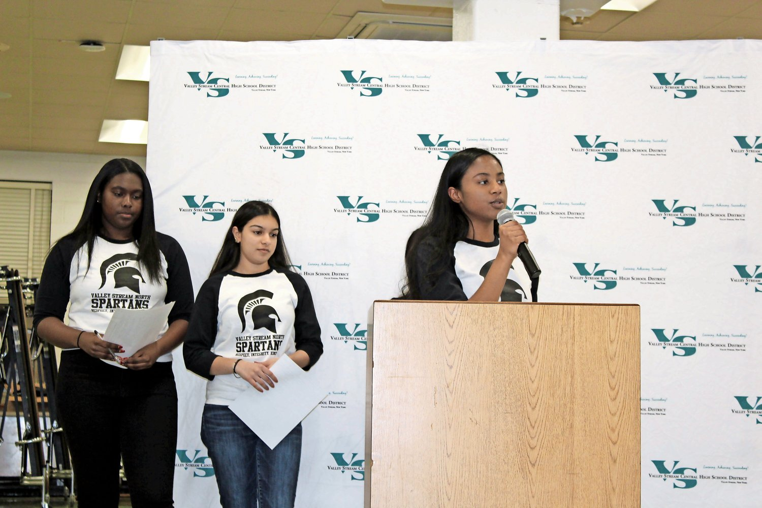 Students including Sumaiya Ramsaroop, right, spoke about the condition of Valley Stream North High School. Simar Thind and Sasha Smalls followed her.