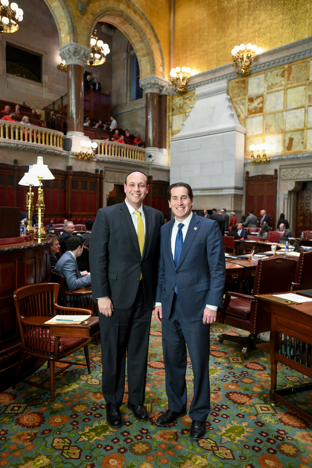 HALB Head of School Rabbi Adam Englander, left, delivered the daily invocation before the State Senate on March 12, with State Sen. Todd Kaminsky.