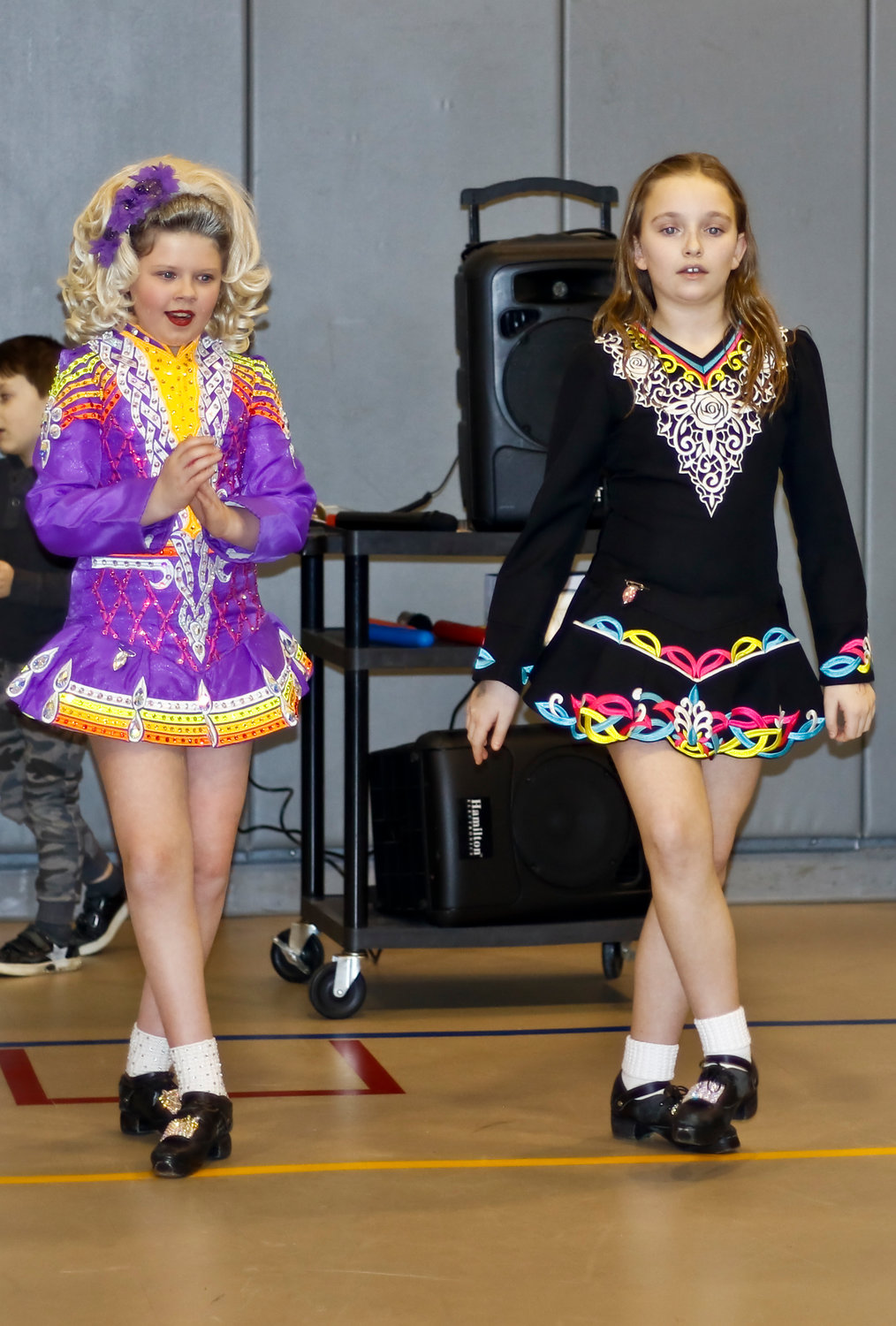 "Irish dance performers Ella Fahy and Kristina O'Rourke showcased their routine to ""Tell Me Ma."""