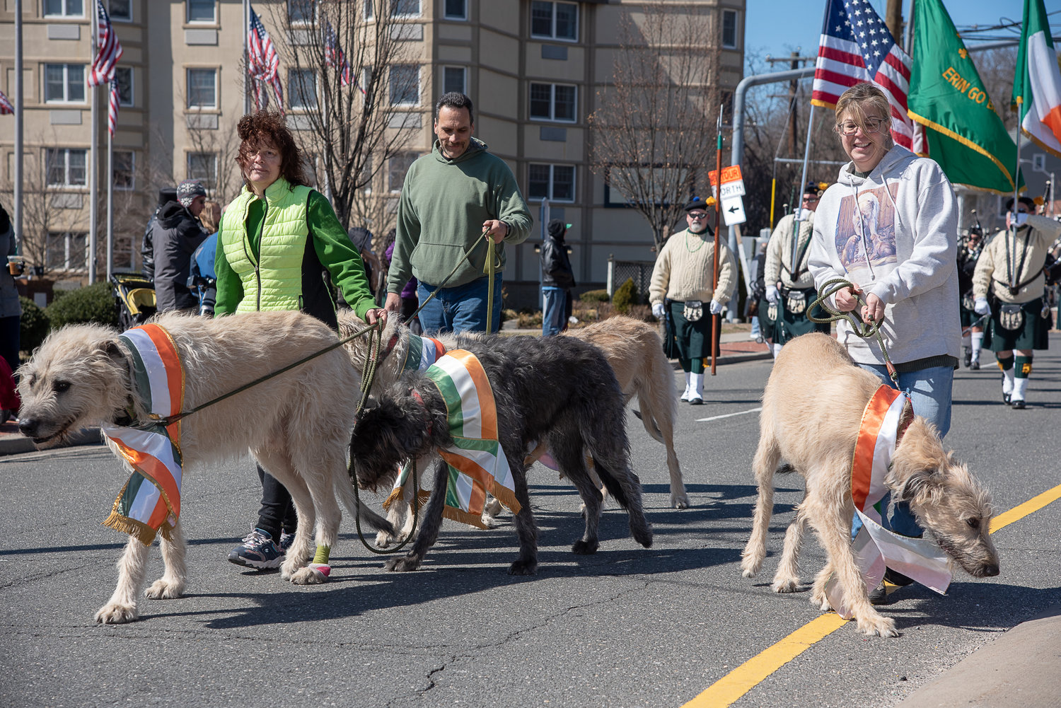 Janice Preisz, left, brought along Irish Wolfhounds to take part in the parade.