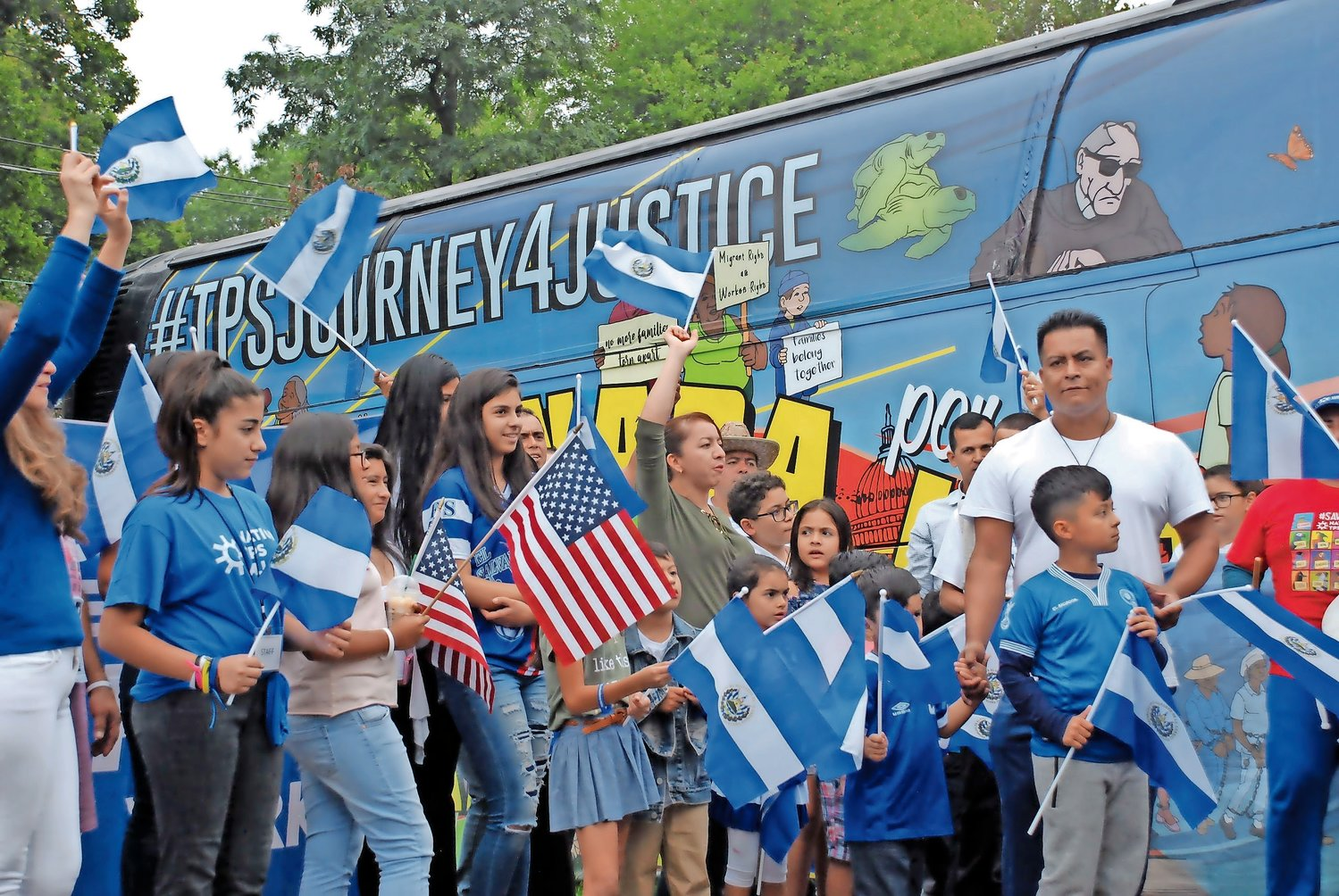 TPS recipients and their supporters visited the Glen Cove Knights of Columbus last October to welcome the Journey for Justice bus, which was on Week Eight of its 12-week trip around the country.