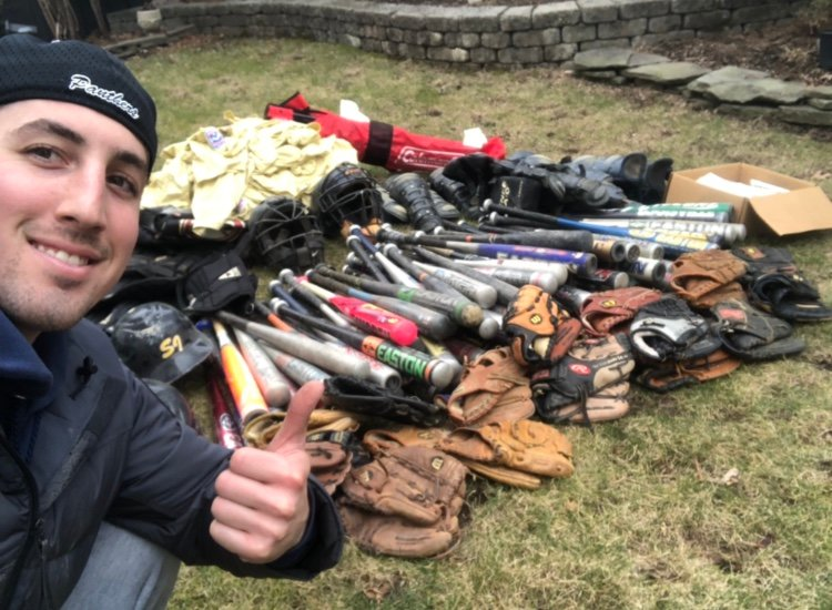 Zach Goldstein, of Merrick, has collected hundreds of pieces of baseball equipment for young players in South Africa, he said, and he intends to gather more.