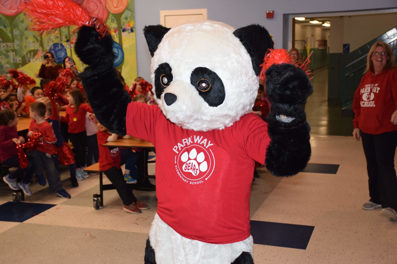 The Parkway Bear mascot was introduced during the school's PARP pep rally.