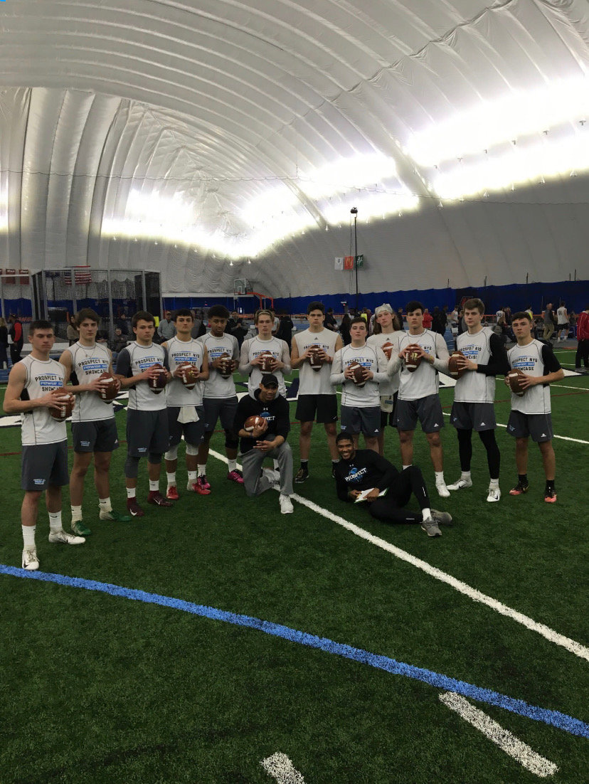 Oceanside quarterback Charlie McKee, far left, and running back and linebacker Andres Duran were invited to the inaugural Prospect NYS Power 50 Showcase on Saturday at Utica College, where they were evaluated by college coaches.