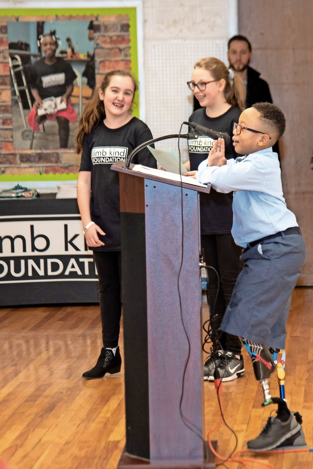 Limb Kind Foundation child ambassador Logan Passe thanked the Oceanside students for raising awareness for kids with limb differences.
