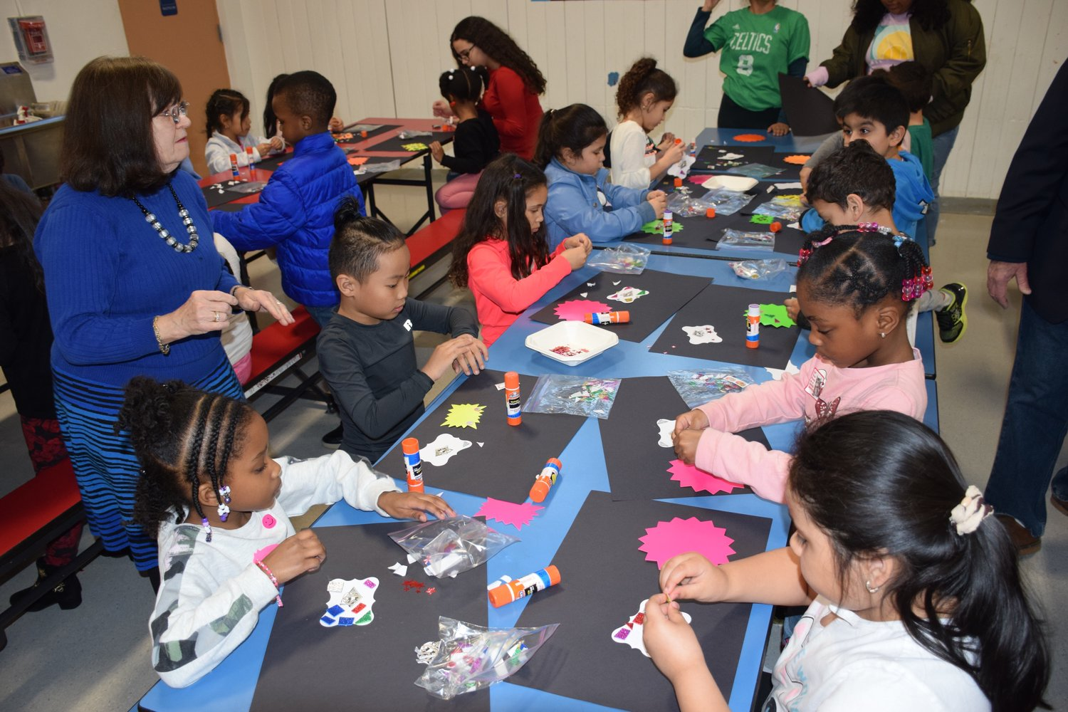 Students at Chestnut Street School in West Hempstead created magnets as part of the school's annual Parent University event on March 19.