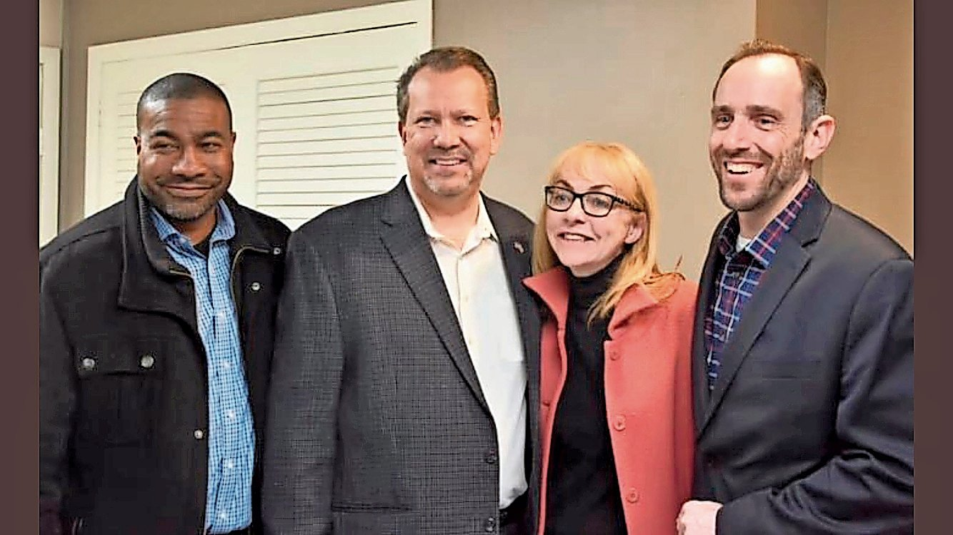 The United Community Party, comprising Trustee Dermond Thomas, from left, Mayor Ed Fare, Justice Virgina Clavin-Higgins and Deputy Mayor Vincent Grasso, officially won re-election on March 25.