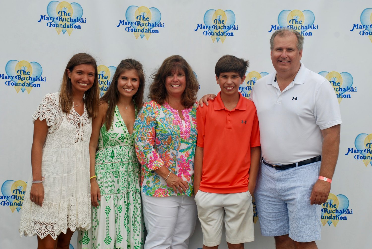 Mary Ruchalski's family — Lyndsey, left, Ashley, Carol, John and Francis — celebrated her life and her love of swimming at the inaugural Mary's Cup last July.