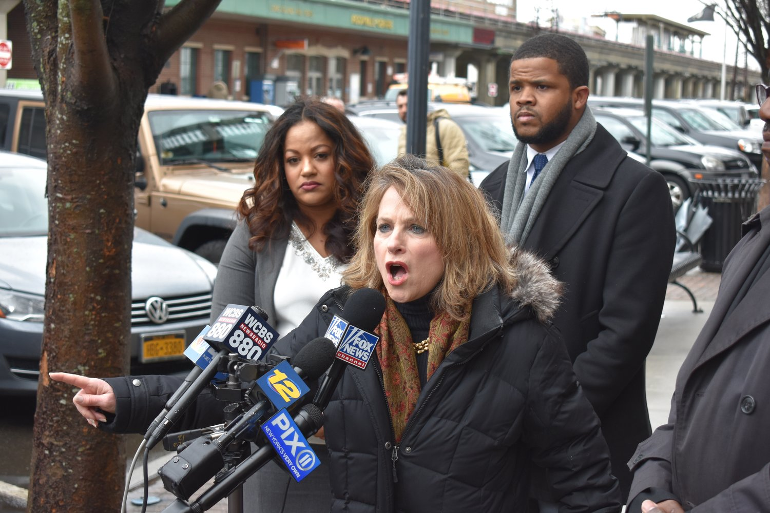 Rockville Centre resident Liz Boylan, alongside Assemblywoman Jaime Williams, left, and Abu Edwards, director of state affairs for Smart Approaches to Marijuana, spoke out against legalizing recreational marijuana in New York.