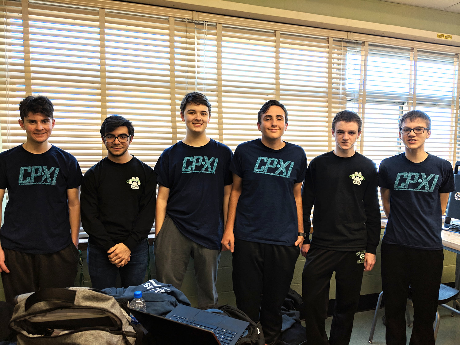 The CyberPatriot team, from left: Tyler Kealy, Jack Racer, Aiden Walden, Jared Weinstein, Johnathon Ivers and Chris Pranito.