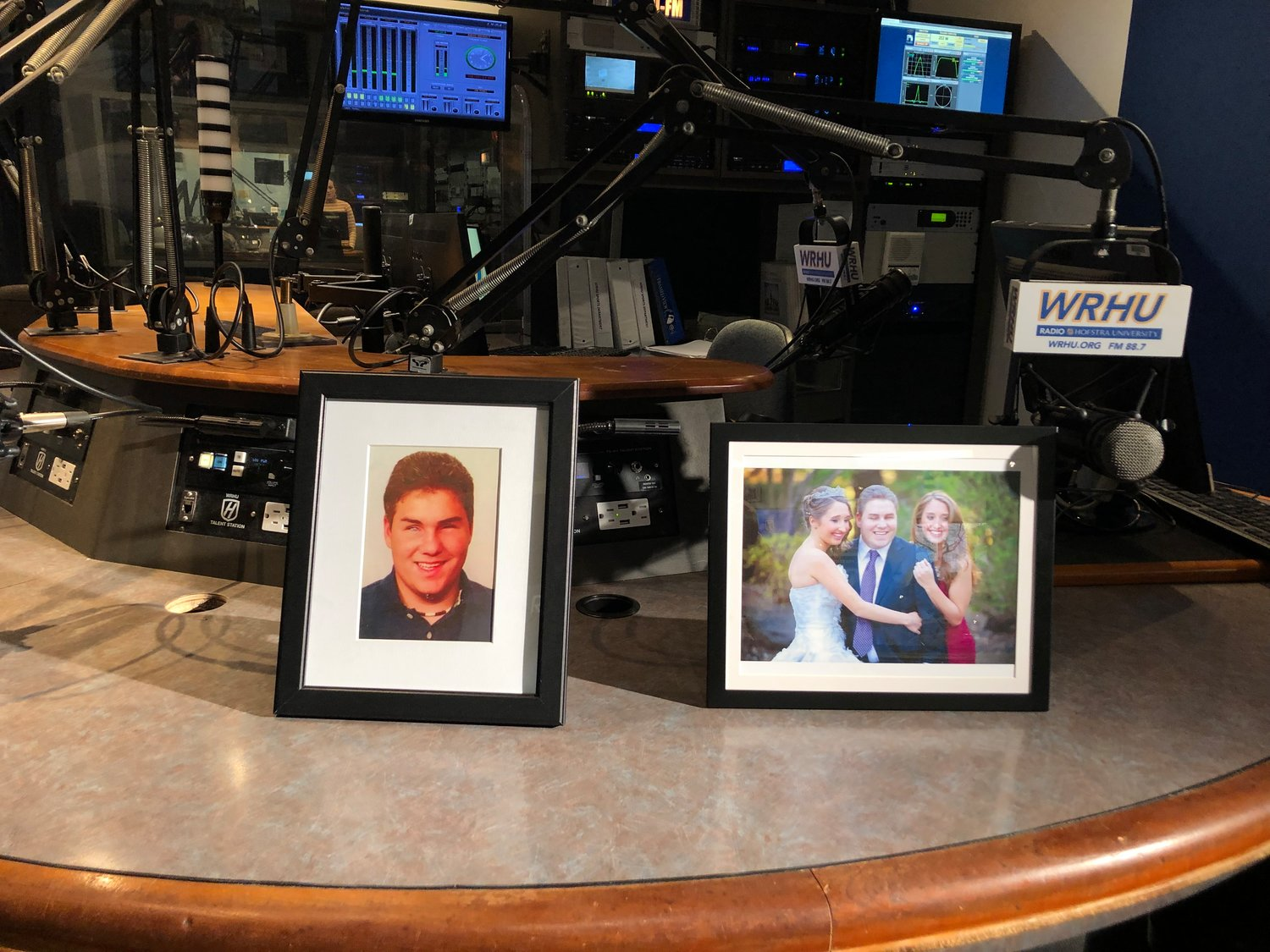 Two photos of Richie Cavallaro in the WRHU Radio Hofstra University Richard Phillip Cavallaro studio.