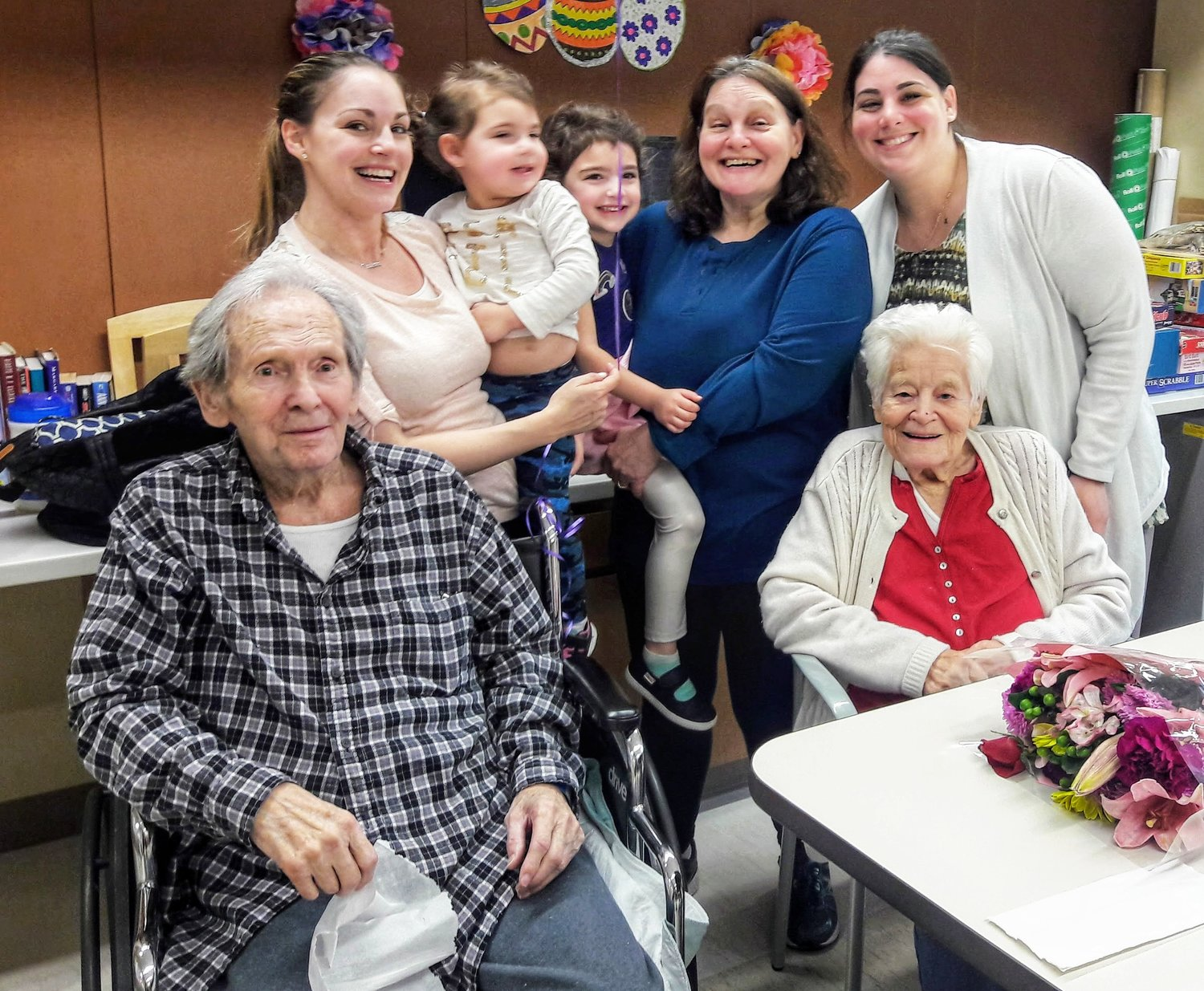 The Schacherls with their daughter Berta, in blue, and their granddaughters and great-granddaughters.