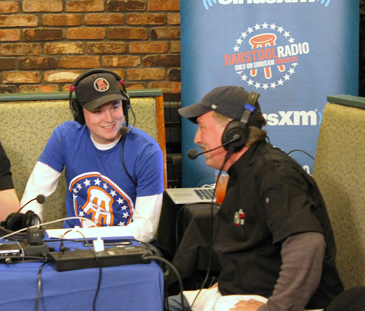 Barstool Sports broadcast an episode on SiriusXM, live from Borrelli's Italian Restaurant in East Meadow, on March 19. One of its hosts, Frankie Borrelli, 25, of East Meadow, left, shared jokes about the family with his father, Frank Borrelli Jr.
