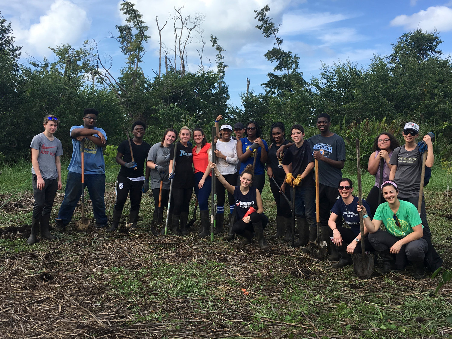 Thirteen Lawrence Woodmere Academy students went to Puerto Rico on a service trip in February. From left, Cooper Sanders, Tyler Haynes, Carlex Villier, Allison Siegel, Lilli Albucker, Tehya Gerbino, Jamila Thompson, local guide Ramon Gonzalez, Jaiden Fox, Kyra Milford, Harrison Schwartz, Cordell Neely, Erica Martinelli, Taina Perez, Angela Eatz, EF Explore America representative Katie Collins and Madison Leonard.