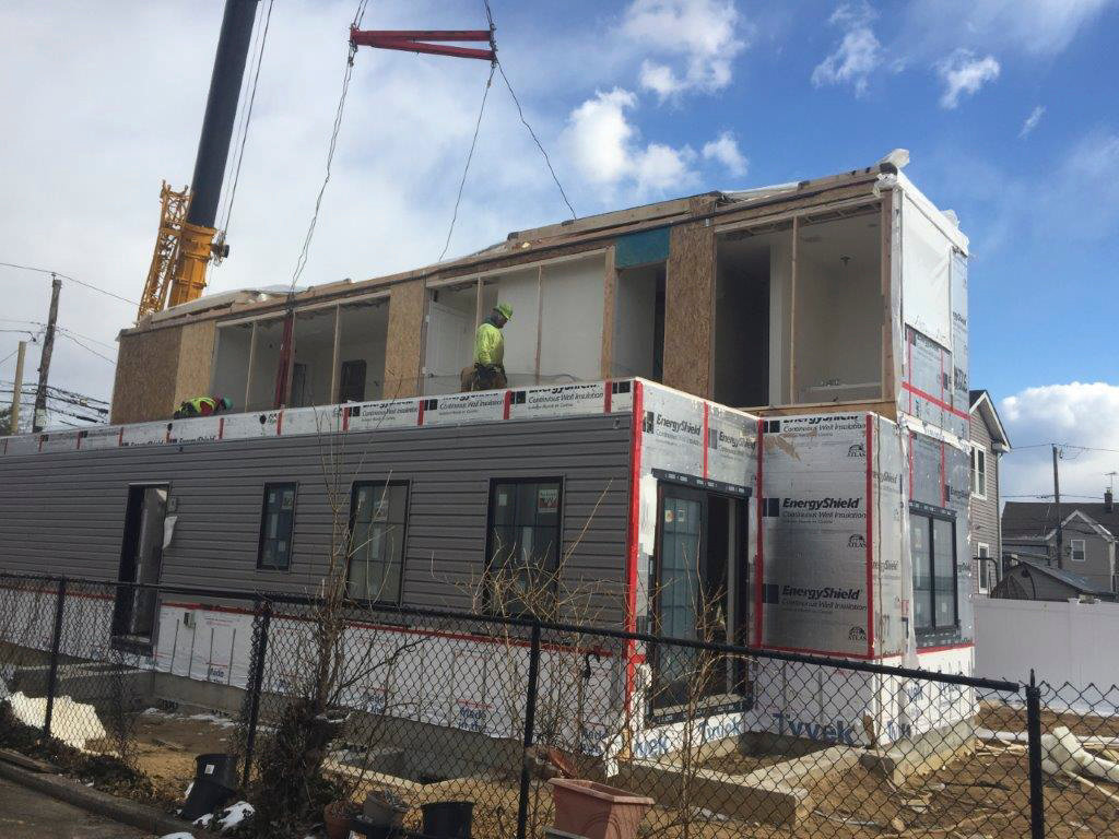 The pre-fabricated house on Washington Avenue in Cedarhurst was installed last month.
