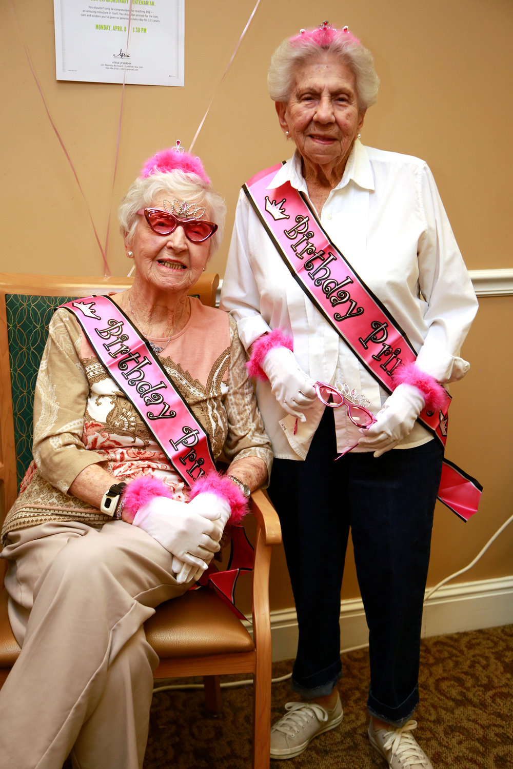 Winifred Boehmke, 101, left, and Nanette Fishman, 100, celebrated their birthdays with a Centenarian Celebration at the Atria of Lynbrook on April 4.