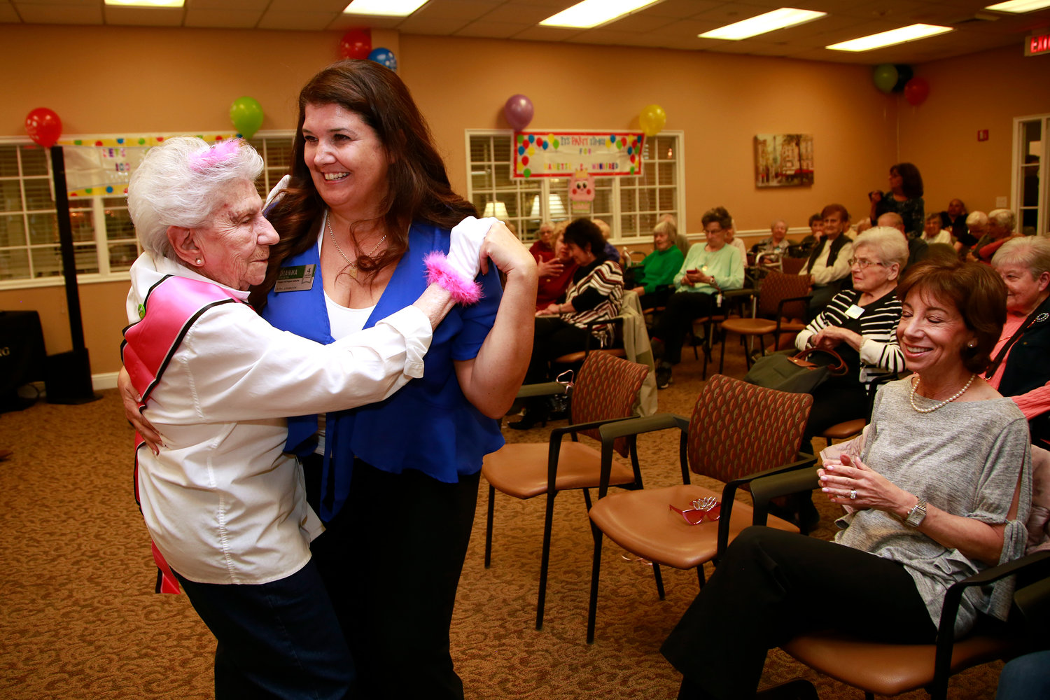 Fishman hit the dance floor with Dianna Viglietta, the Engage Life program director for the Atria.