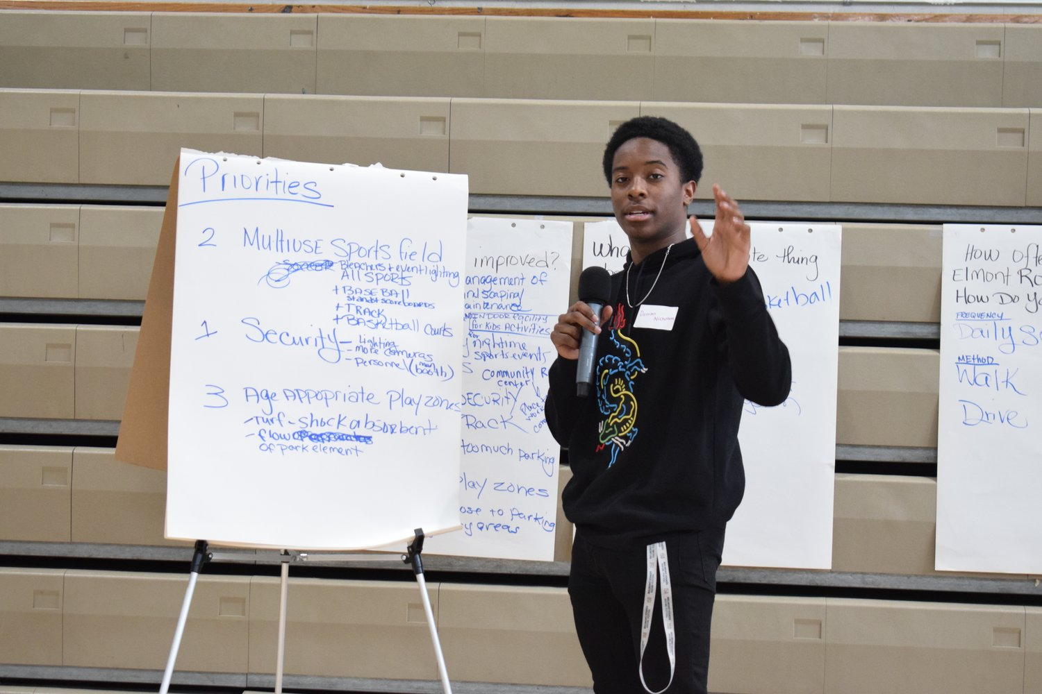 Elmont Memorial High School junior Darrien Nicholson presented his group's priorities for what they wanted to see in a new Elmont Road Park at a recent workshop.