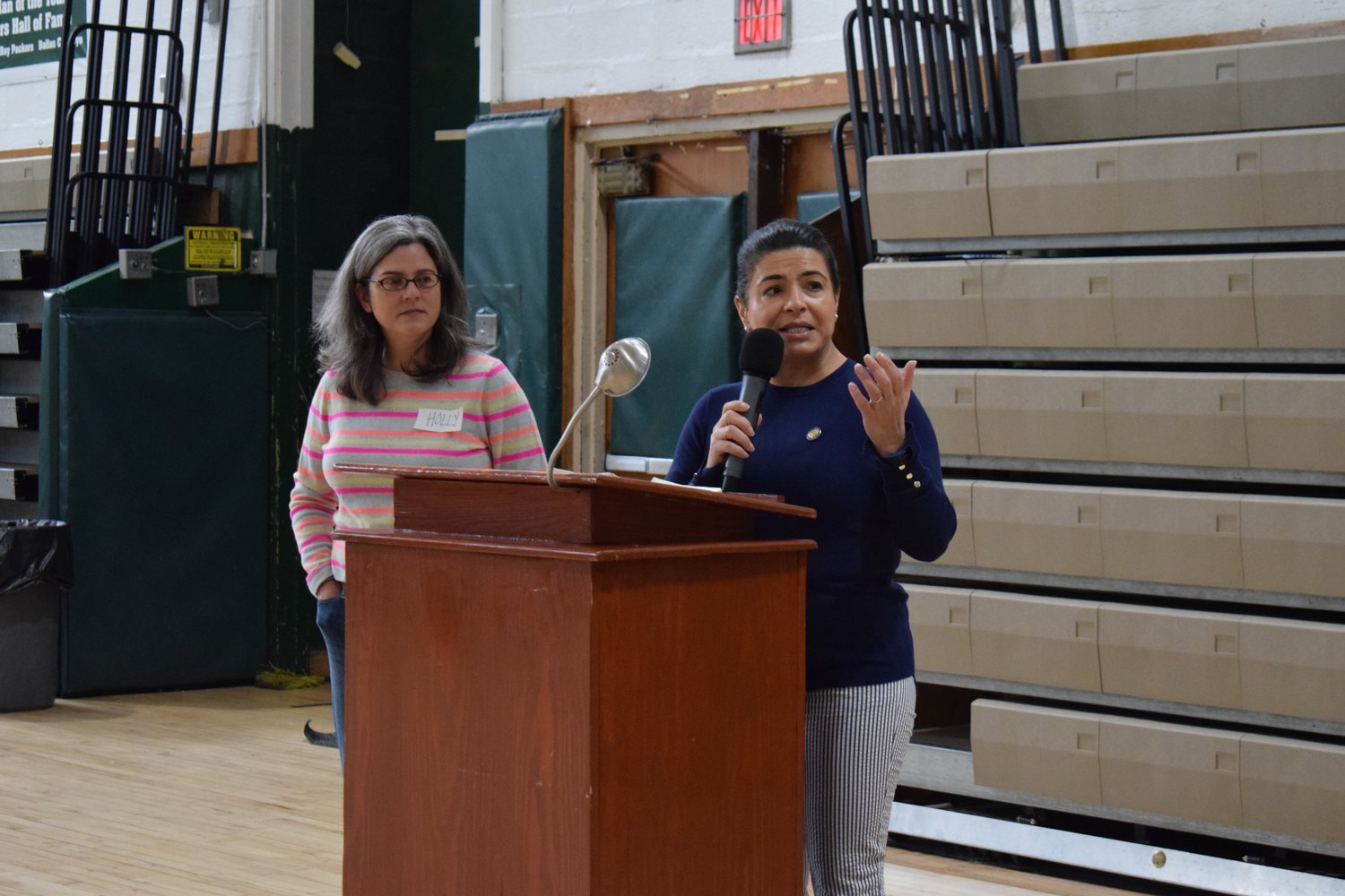 New York State Sen. Anna Kaplan, right, spoke about her hope to see a newly restored Elmont Road Park by 2021. Holly Leicht, of ESD, helped lead the workshop session with residents.