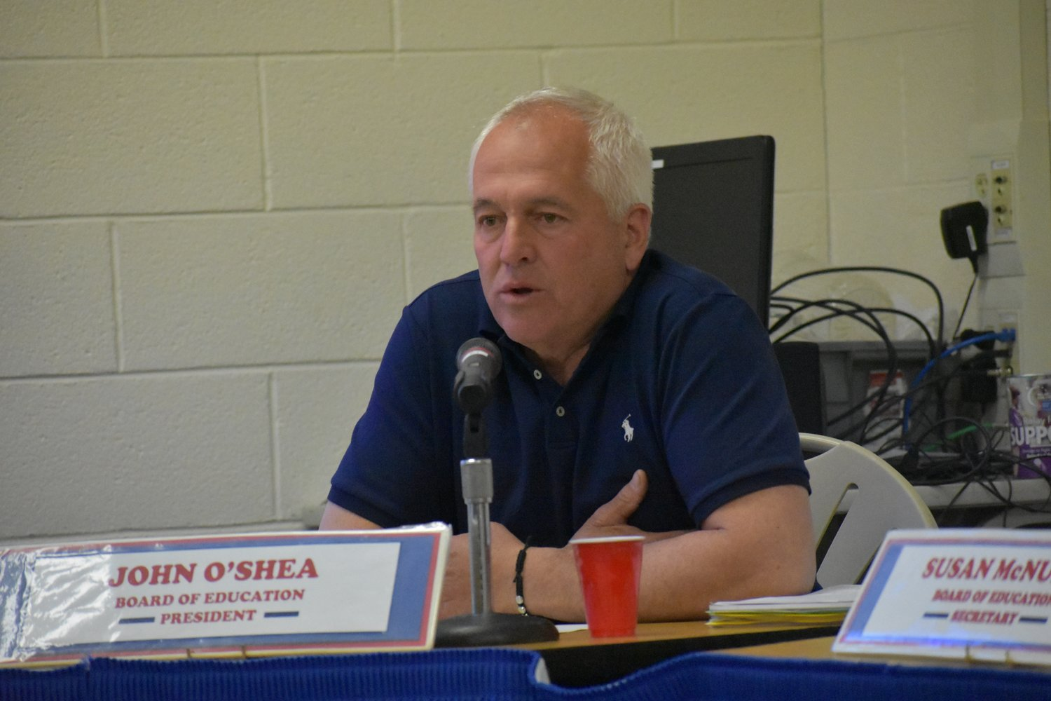 Board of Education President John O'Shea advocated for stronger guidance services than were proposed in the budget.