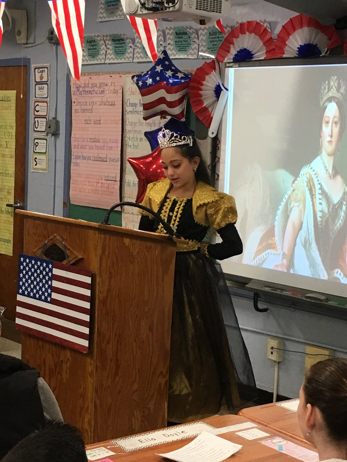 Mandalay fifth-grader Valentina Manessis researched and dressed as Queen Victoria.