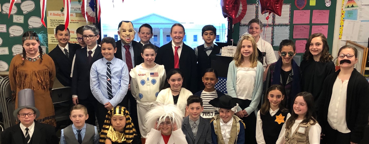 "Fifth-grade students at Mandalay Elementary School in Wantagh dressed in character during the annual ""White House Tea."""
