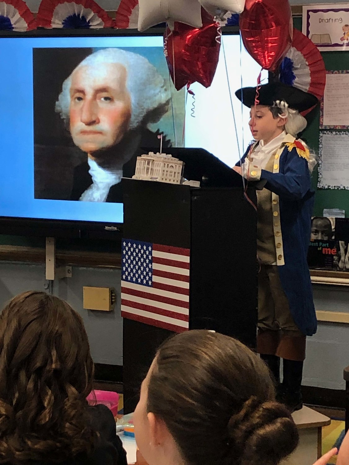 Mandalay student Dean Burch researched and dressed as George Washington.