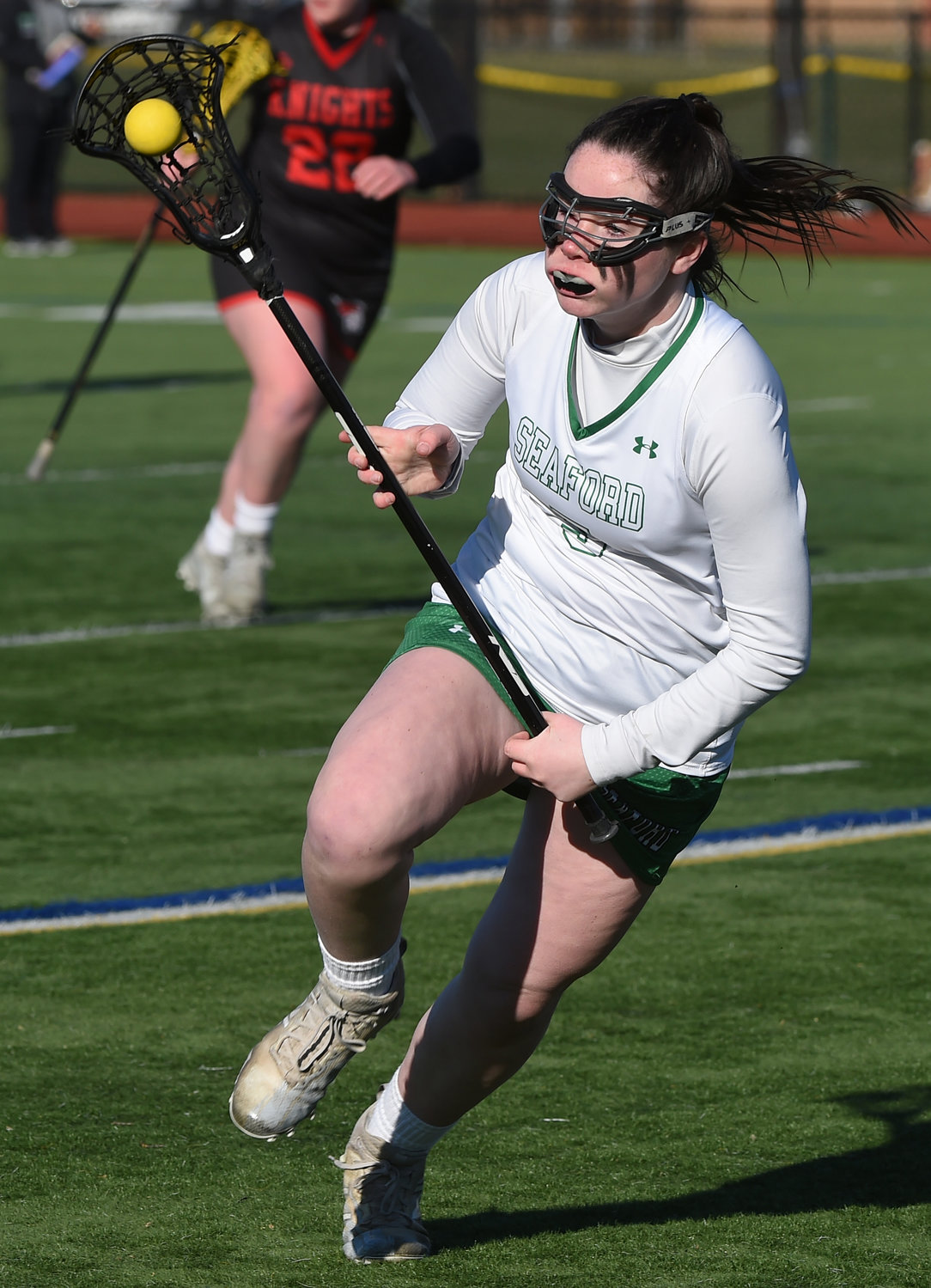 Attack Caitlin Costello is part of a talented senior class for the Lady Vikings and entered this week's action with 11 goals, including a hat trick against Floral Park.