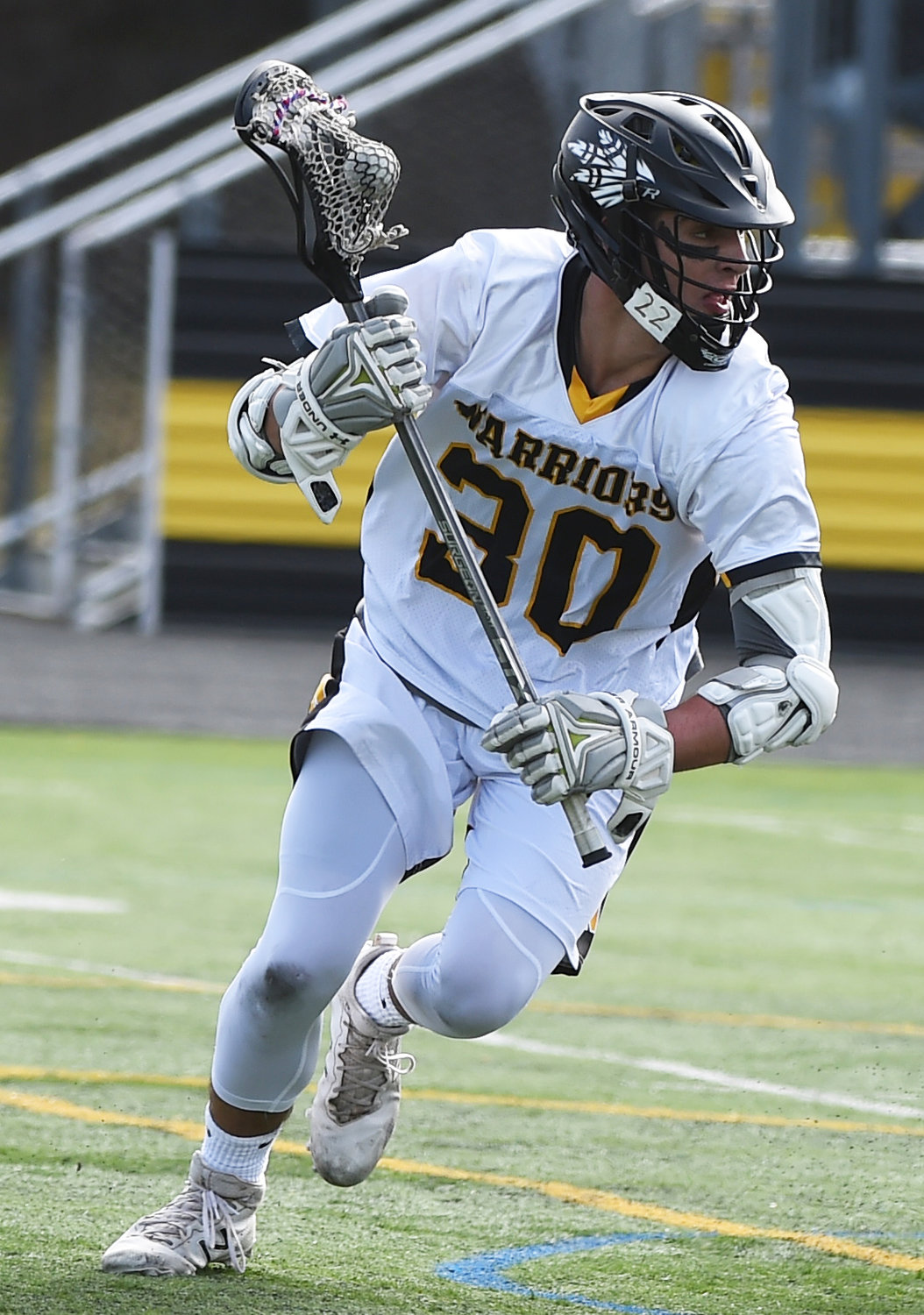 Junior Ethan Insinga had three goals last Saturday as the Warriors knocked off Mineola, 8-6, for their second straight Conference C victory.