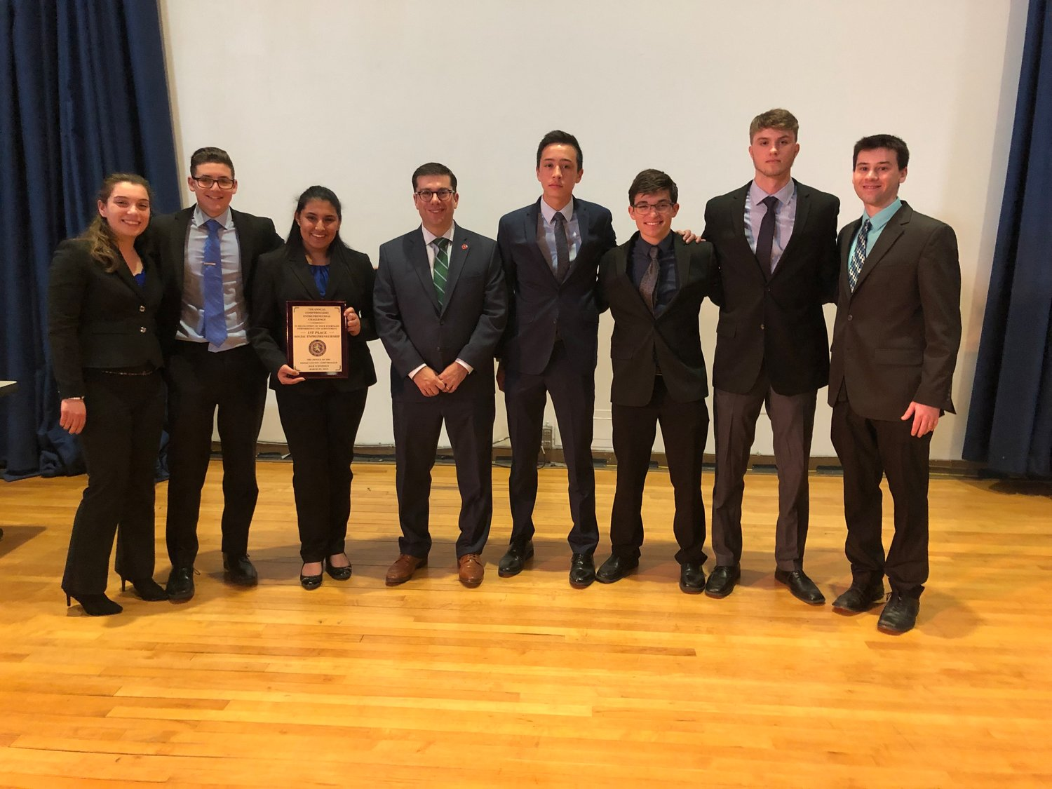 East Meadow High School students earned first place at the Nassau County Comptroller's Entrepreneurial Challenge on March 29 at SUNY Old Westbury.