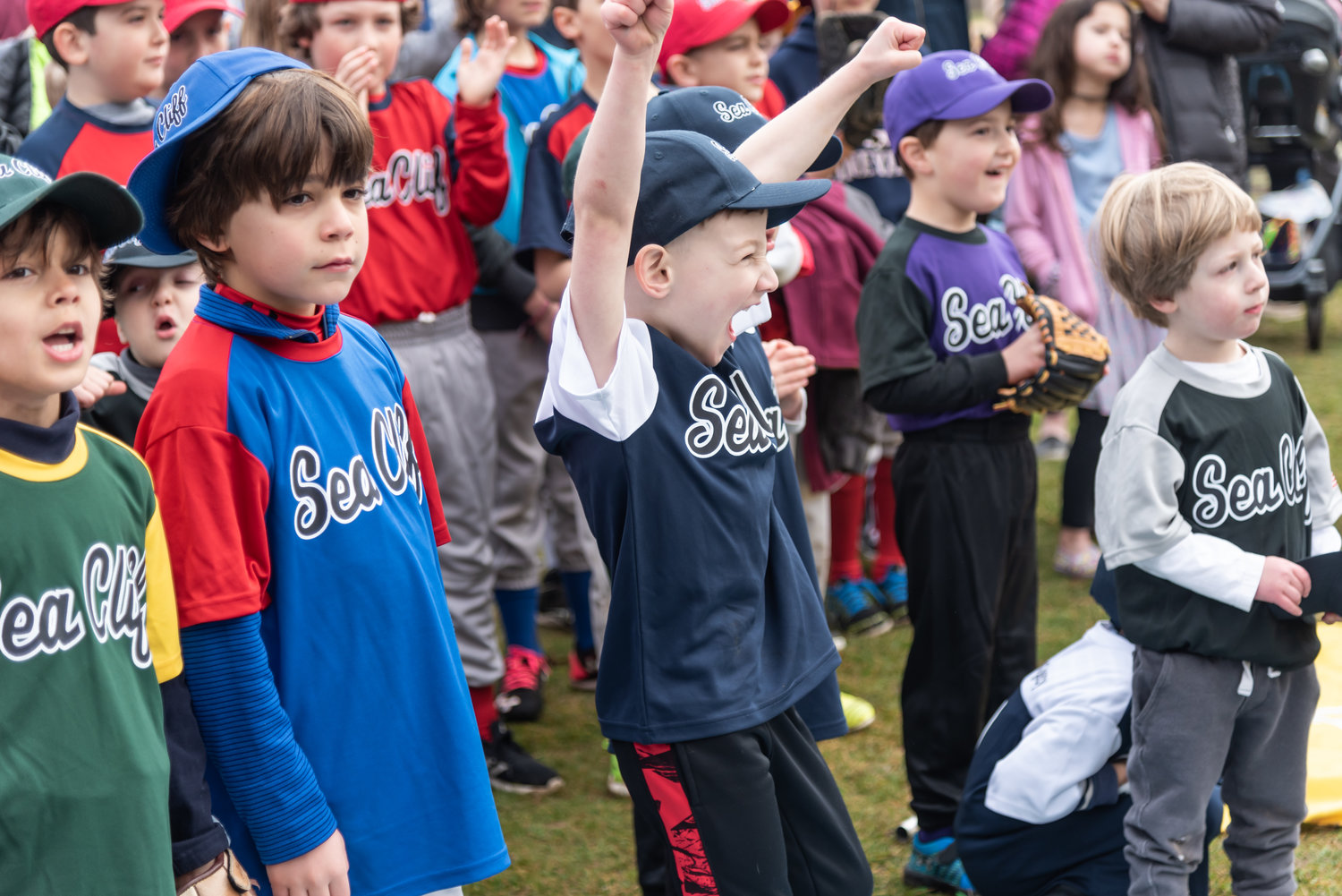Pint-sized slugger Cassius Williams couldn't contain his excitement at Sea Cliff Little League's opening day ceremonies in Clifton Park last Saturday.