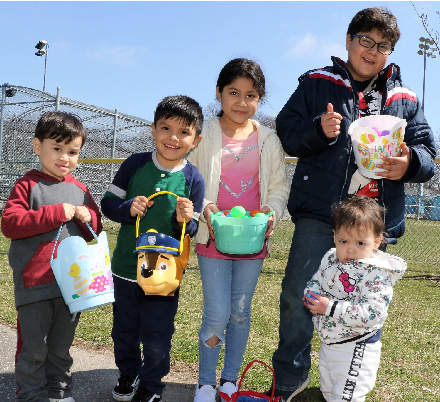 Jacob Amaya, Andrew Chombo, Abigail Loetorre, Diego Amaya and Alexandra Amaya had a great time filling their baskets with Easter treats.