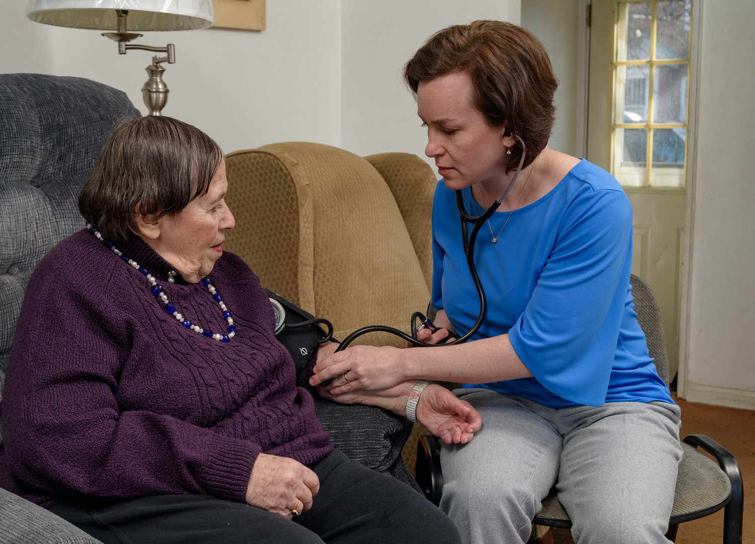 House Calls provides in-home health care to the elderly who find it difficult to leave their homes. On a recent visit, Dr. Karen Abrashkin checked Rose Katz's blood pressure.