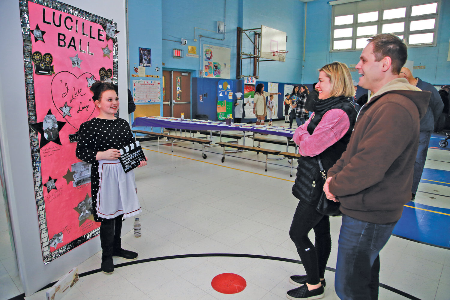 "Angela Maimone, as Lucille Ball, talked to Andrew and Jolene Daniello during Oceanside School No. 4's ""Living Wax Museum"" project."